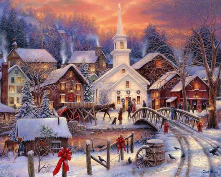 Открытки и пейзажи новогодние